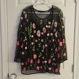 Rafaella 2x sheer floral print top new!